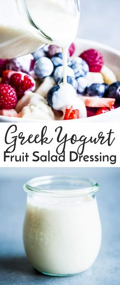 This Greek Yogurt Fruit Salad Dressing is going to be your new favorite thing to smother your fruit in. Made with all natural ingredients, this refined sugar free healthy yogurt dressing will turn your fruit salad into a wonderfully creamy dessert! Perfec