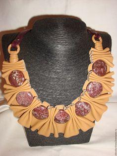 Купить Колье из натуральной кожи Гармошка 1 - колье из кожи, украшение на шею