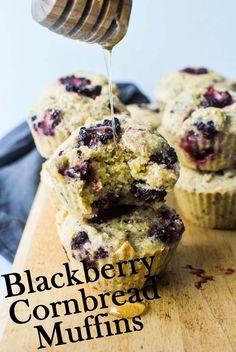 Blackberry Cornbread Muffins #vegan #glutenfree