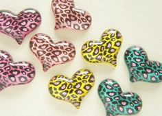 Assorted 6 pcs Leopard Heart Cabochon (24mm*31mm) IK127 on Etsy, £2.74