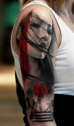 half sleeve watercolor tattoos of face and bridge - woman, child, umbrella
