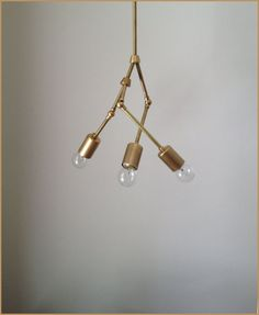 Modern brass Trio chandelier  3 Bulb  by ModernIndustryLight, $167.00    Bedroom light fixture maybe