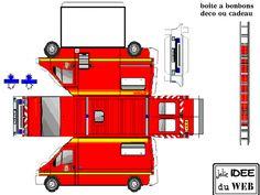 DECOUPAGE_2 Paper Model Car, Paper Car, Paper Models, Fireman Party, Firefighter Birthday, Fireman Sam, Cardboard Toys, Paper Toys, Printable Box
