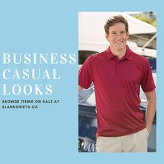 Shop our business casual look, look great at the office. T Shirt Company, Business Casual, Casual Looks, Looks Great, Mens Tops, How To Wear, Shopping, Fashion, Moda