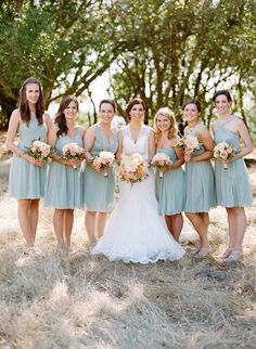 smoky aqua bridesmaids' dresses, photo by Josh Gruetzmacher http://ruffledblog.com/santa-rosa-winery-wedding #bridesmaids #dresses #wedding