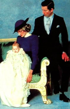 December 21, 1984: Prince Charles, Princess Diana with Prince Harry following his christening at St. George's Chapel, Windsor.