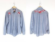 60s Embroidered Western Shirt -- Vintage Chambray Denim Cowboy Shirt -- Long Sleeve Button Up Blouse -- Red Floral Embroidery - Unisex M / L by ImprovGoods on Etsy