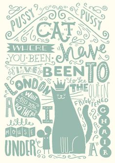 "A4 Art Print - ""Illustrated Nursery Rhyme: Pussy Cat, Pussy Cat"" - Art Print / Typography / Hand Lettering"