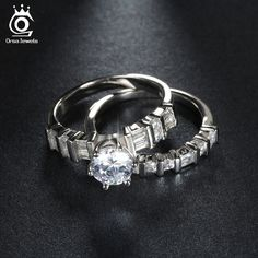 ORSA JEWELS Luxury 1.3ct Brilliant Zircon Engagement Wedding Ring Set Fashion Silver Ring for Women Promised Gift OR113