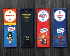 Superhero Bookmarks, Birthday Bookmarks, Batman Bookmark, Wonder Woman Bookmark, Spiderman Bookmark, Printable, DIY, Instant Download
