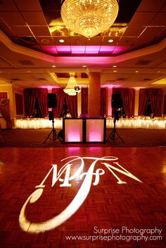 DJ Bri Swatek Uplighting and Signature Gobo Light at a Hudson Valley Wedding at the Poughkeepsie Grand Hotel Courtesy of Surprise Photograpy