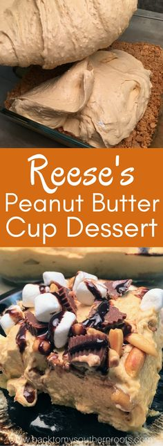 Reese's Peanut Butter Pudding Dessert is the perfect recipe for any gathering. The peanut butter cup dessert is filled with pudding, marshmallows, peanuts, graham crackers, and chocolate syrup. The recipe is a delicious treat that everyone will love. #party #dessert #desserts #peanutbutter