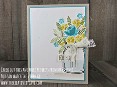 Check out my FB Live video where I create this beautiful card using Stampin Up's Jar of Love stamp set plus 3 more projects on my blog at www.thecreativitycave.com #stampinup #thecreativitycave #fblive #jaroflove