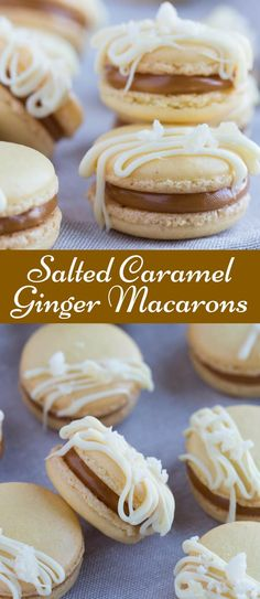 Salted Caramel Ginger Macarons are the perfect little treat.  Ginger flavored macarons shells filled with salted caramel! via @introvertbaker