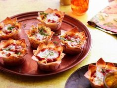 Lasagna Cupcakes recipe from Aarti Sequeira via Food Network Food Network Recipes, Cooking Recipes, Chef Recipes, Pizza Recipes, Easy Cooking, Healthy Cooking, Healthy Eats, Delicious Recipes, Lasagna Cupcakes