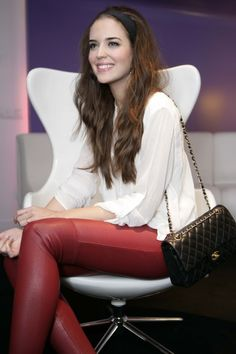 Clara Alonso- White blouse, #red #leather pants, and black #Chanel 2.55 bag
