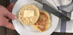 Close-up of serving English muffin on white plate