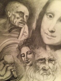 Montage - Homage to Leonardo - Pencil on Brown Paper 11 x 14 -  by Nick Chagouris
