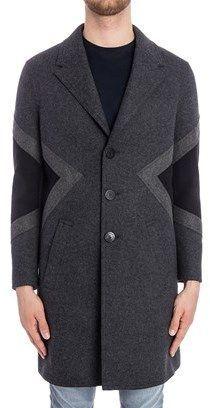 Neil Barrett Men's Grey/black Wool Coat.