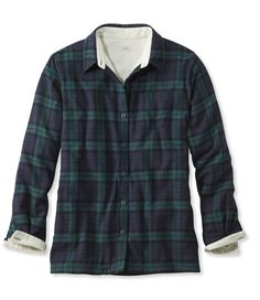 Fleece-Lined Flannel Shirt, m, black watch or deep red Fleece Lined Flannel Shirt, Flannel Shirts, Women's Shirts, Sherpa Lined, Stylish, My Style, Mens Tops, Stilettos, High Heels