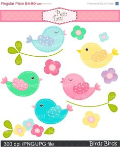 ON SALE bird clip art , Digital clip art for all use, Birds Birds, instant download