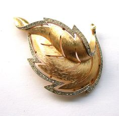Signed Crown Trifari Golden Leaf Brooch With Rhinestone by Xulha, $59.99
