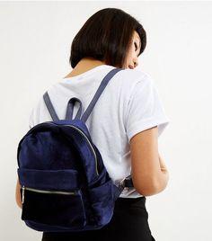 Navy Velvet Mini Backpack | New Look