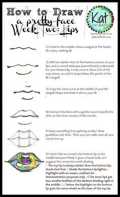 How to Draw Lips tutorial via katcanpaint.com