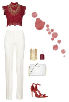 """""""Classy"""" by hollyrt2111 ❤ liked on Polyvore featuring Martha Medeiros, Victoria Beckham, Schutz, Michael Kors, Forever 21, Essie and Topshop"""