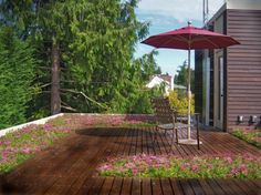 Magnolia Residence - modern - patio - seattle - by Spore Design An interesting way to mix deck and greenery (not on the roof in our case) Terrace Design, Roof Design, Patio Design, Porches, Wooden Patios, Modern Deck, Steel Pergola, Black Pergola, Balkon Design