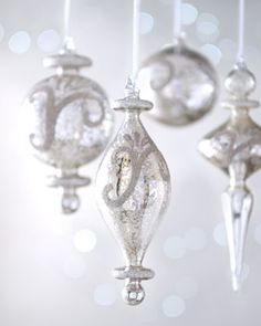 "Eight ""Joyeux Noel"" Mercury-Style Glass Christmas Ornaments at Neiman Marcus. #SolutionsPinIt"