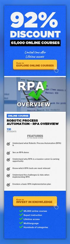 Robotic Process Automation - RPA Overview Operations, Business  Learn Robotic Process Automation to Unleash a Modern RPA Career If you're not learning robotic process automation, or, RPA, right now… you're already behind. Much in the same way physical robots have been rapidly replacing industrial, blue-collar jobs, software robots will be replacing a high percentage of white collar jobs… so...