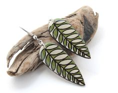 Wood burned & hand painted Leaf dangle earrings.
