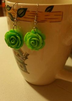 Check out this item in my Etsy shop https://www.etsy.com/listing/255440881/green-rose-drop-dangle-earring