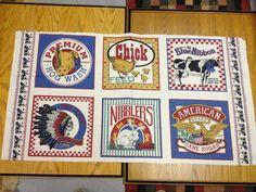 Vintage feedsack fabric panel with farm by KoopsKountryKalico, $10.00