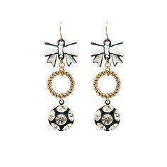 Betsey Johnson Crystal and Bow Earrings from LittleBlackBag.com :: Gold :: Black :: White :: Bow :: Earrings :: Crystal