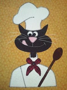 "Chef ""Cat"" Cora wall hanging!  Cat quilt."