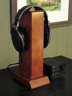 Custom Wood Headphone Stands -- H. Diy Headphone Stand, Headphone Storage, Headphone Holder, Headphone Splitter, Skullcandy Headphones, Diy Headphones, Cordless Headphones, Arts And Crafts For Teens, Diy Arts And Crafts