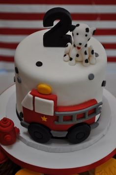 The cutest fireman party themed cake and cupcakes