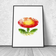 Mario, Flower, watercolor illustration, giclee art print, video games decor, retro gaming, 8 bit, wall decor by RNDMS on Etsy https://www.etsy.com/listing/192907133/mario-flower-watercolor-illustration