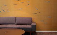 Transient fish on bold metallic background by Misha handmade wallpaper