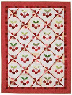 "Cherry Cobbler Quilt ~ finished size 62½""w x 82½""h, pdf pattern download $5 | via Martingale"