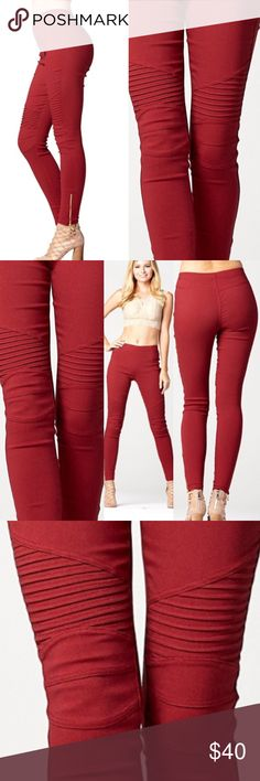 🆕Burgundy Moto jeggings w/ side ankle zip These are so on trend and great for any outfit. Dress up or down, pants have good stretch and elastic waist.   🛍🛍Shop with confidence....I am a Poshmark ambassador, top rated seller, posh and sip host, and two time Poshmark party cohost. Bundle for best discounts. Check back often as new boutique items are added daily. Size not available? Leave a message and if it's available with my wholesale vendors I will order for you at no additional cost🛍🛍…