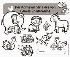 "Ideenreise: workbook for the ""Carnival of Animals"" by Camille Saint-Saëns . Music Lesson Plans, Kindergarten Lesson Plans, Music Lessons, Science Education, Music Education, Carnival Of The Animals, Elementary Music, Teaching Music, School Classroom"