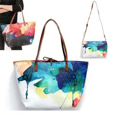 Desigual bag デシグアルバッグ スペインバッグ インポートバッグ ペイント柄 Handmade Handbags, Handmade Bags, Shopper Bag, Tote Bag, Watercolor Fabric, Creative Bag, Painted Bags, Fabric Purses, Fancy Hats