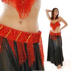 Coordinating belt, sale $40 1/16/17. Egyptian Red Traditional Fringe Belly Dance Belt