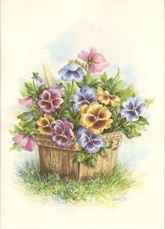 VINTAGE PURPLE PINK YELLOW PANSIES PLANTER BOTANICAL NATURE CARD ART LITHO PRINT