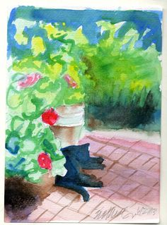 Garden Sketch With Mimi Various Prints by PortraitsOfAnimals