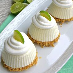 No-Bake Summer Desserts for When It's Too Hot to Turn on the Oven Put the lime in the coconut with these individual frozen no bake key lime pies desserts.Put the lime in the coconut with these individual frozen no bake key lime pies desserts. Easy Summer Desserts, Frozen Desserts, No Bake Desserts, Just Desserts, Delicious Desserts, Dessert Recipes, Yummy Food, Lime Desserts, Baking Desserts