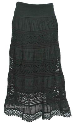 black maxi skirt with lace <3